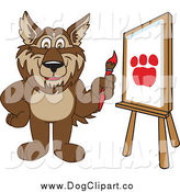 Vector Clip Art of a Wolf Painting a Paw Print on Canvas by Toons4Biz