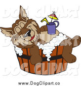 Vector Clip Art of a Wolf Relaxing in a Tub with a Drink on His Belly by Toons4Biz