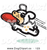 Vector Clip Art of an Active White Dog Jumping and Catching a Red Disc over White by Andy Nortnik