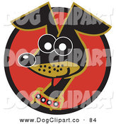 Vector Clip Art of an Alert and Cute Hyper Little Dachshund Dog on a Red Outlined Circle by Andy Nortnik