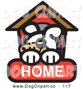 Vector Clip Art of an Exhausted Dog Napping in His Dog House on a Home Internet Web Icon by Andy Nortnik