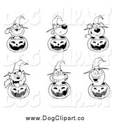 Vector Clip Art of Black and White Animals in Halloween Pumpkins by Hit Toon
