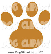Vector Clip Art of Canine Clip Art - Brown Dog Paw Print by Andy Nortnik