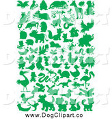 Vector Clip Art of Green Silhouetted Animals by Alex Bannykh