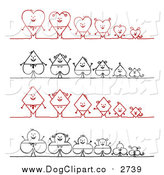 Vector Clip Art of Heart, Spade, Diamond and Club Stick Families by NL Shop