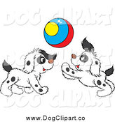 Vector Clip Art of Spotted Puppies Playing with a Colorful Ball by Alex Bannykh