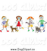 Vector Clip Art of Stick Children with Dogs and Other Pets by Prawny