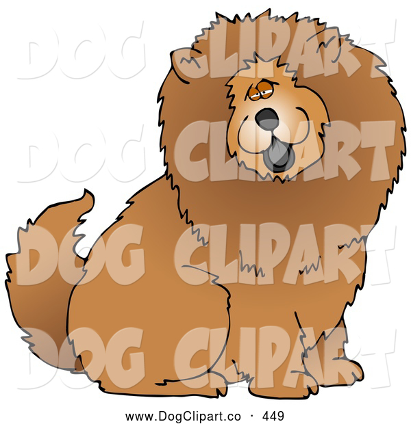 Cartoon Clip Art of a Cute and Fluffy Brown Chow Chow Dog Sticking His Black Tongue out and Looking at the Viewer on White