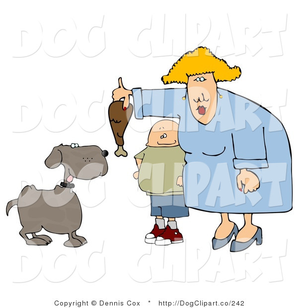 Cartoon Clip Art of a Fat Son Watching His Fat Mom Feed Pet Dog a Turkey Leg