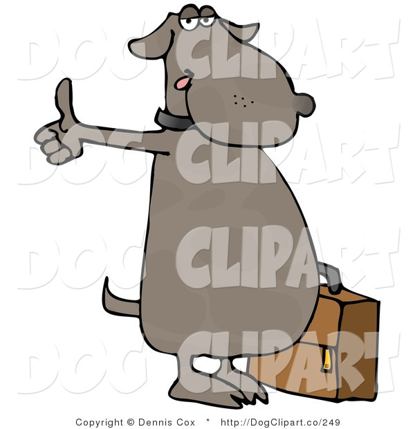 Cartoon Clip Art of a Human-like Dog Hitchhiking for an Automobile Ride and Holding a Suitcase