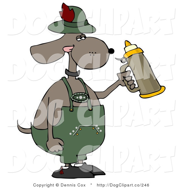 Cartoon Clip Art of a Humorous German Anthropomorphic Dog Holding a Beer Stein While Celebrating Oktoberfest - Holiday
