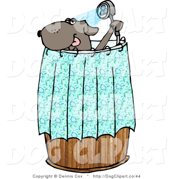 Cartoon Clip Art of an Anthropomorphic Brown Dog Showering