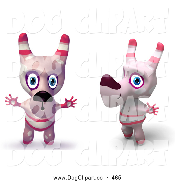 Cartoon Clip Art of Two Happy Pink Toy Cartoon Dogs Holding Their Arms out and Making Funny Faces