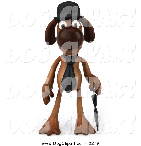 Clip Art of a 3d Brown Gentleman Dog Facing Front with an Umbrella