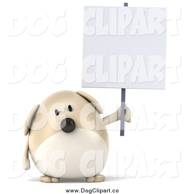 Clip Art of a 3d Chubby Tan Dog Holding up a Sign