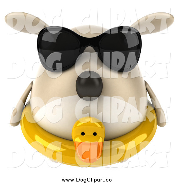 Clip Art of a 3d Chubby Tan Dog Wearing Sunglasses and an Inner Tube