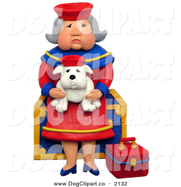 Clip Art of a 3d Elderly Grandmother Sitting on a Chest with Her Lookalike Bulldog