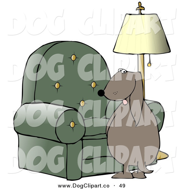 Clip Art of a Bad Dog Looking Back over His Shoulder While Peeing on a Chair in a Living Room on White