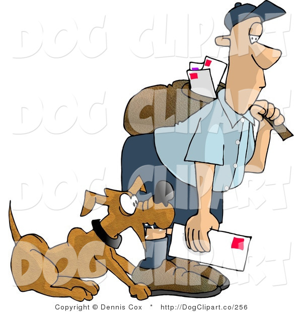 Clip Art of a Bad Dog Nipping the Mailman on the Leg
