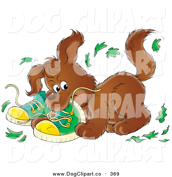 Clip Art of a Bad Puppy Dog Chewing up a Pair of Green Shoes