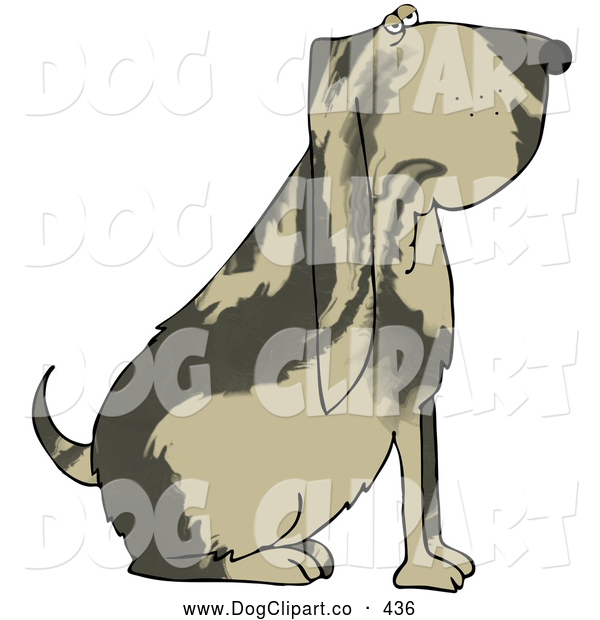 Clip Art of a Big Brown Bloodhound Dog with a Marble Patterned Coat