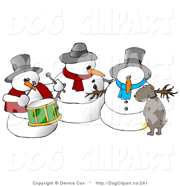 Clip Art of a Brown Dog Urinating on a Snowman