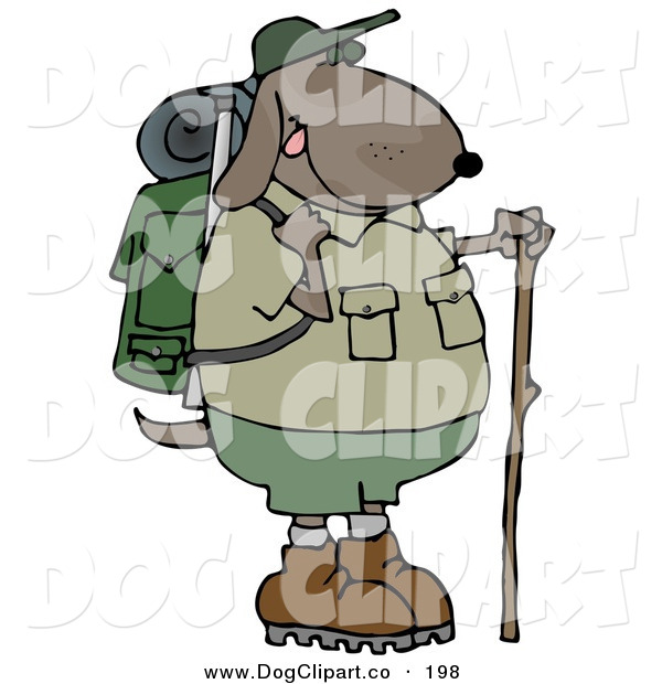 Clip Art of a Brown Dog Using a Hiking Stick While Backpacking with Camping Gear