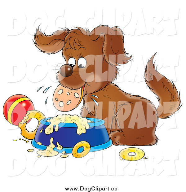 Clip Art of a Brown Puppy Dog Eating a Slice of Sausage over a Dish