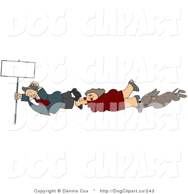 Clip Art of a Businesswoman, Businessman, and Dog Holding onto a Blank Sign Pole While Being Blown Around in a Severe Tropical Wind Storm