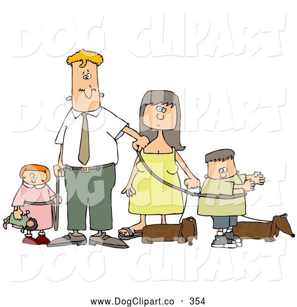 Clip Art of a Caucasian Man and Woman Walking Their Dachshund Dogs and Kids on Leashes