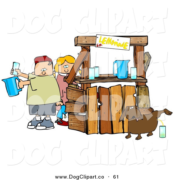 Clip Art of a Chubby and Unaware Boy and Girl Preparing Beverages at Their Lemonade Stand While Their Dog Urinates in a Cup for an Unsuspecting Customer