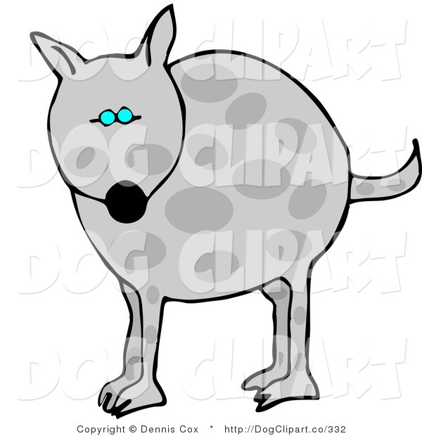 Clip Art of a Chubby Gray Spotted Dog with Blue Eyes