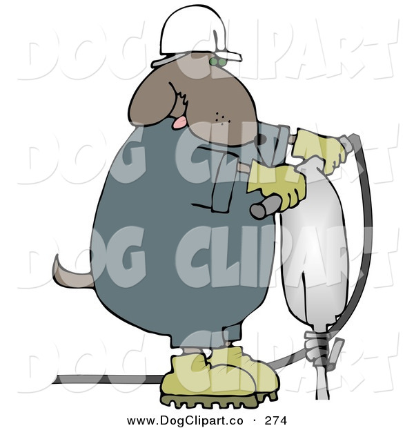 Clip Art of a Construction Worker Brown Dog in a Hardhat Using a Jack Hammer on the Ground