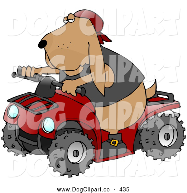 Clip Art of a Cool Brown Hound Dog Wearing a Vest and Driving a Bright Red ATV