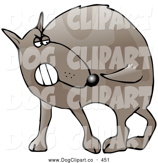 Clip Art of a Crazy Dumb Dog Running Around in Circules, Trying to Bite His Own Tail