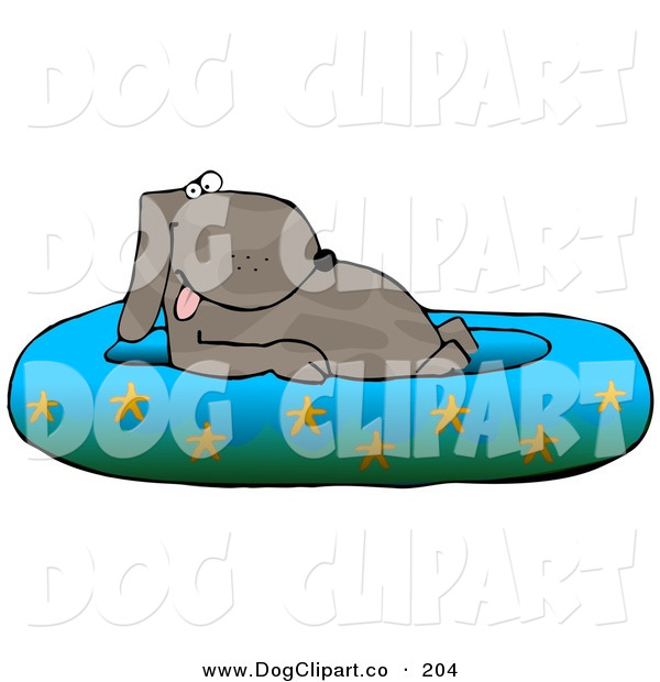 Clip Art of a Cute Brown Happy Dog Soaking in a Kiddie Pool Decorated with Starfish