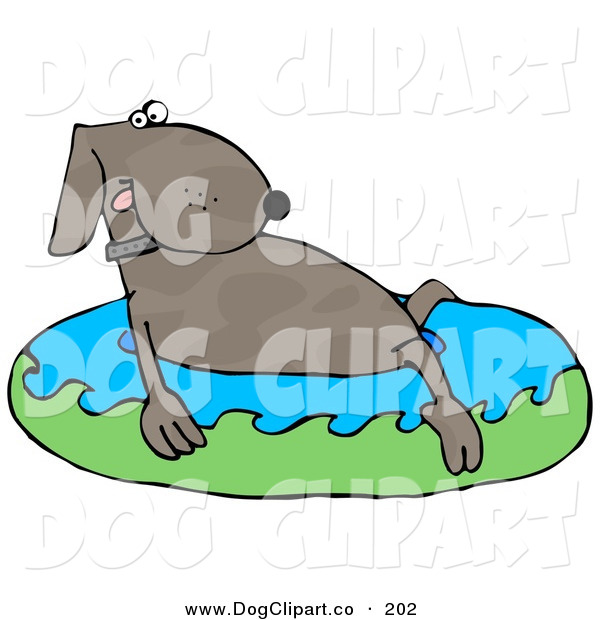 Clip Art of a Cute Dog Soaking in an Inflatable Kiddie Pool to Cool off on a Hot Summer Day