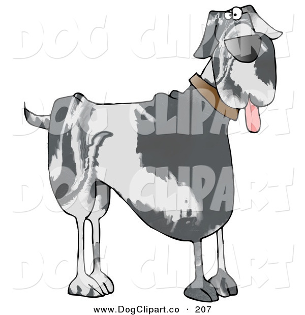 Clip Art of a Cute Great Dane Doggy Panting and Looking Right