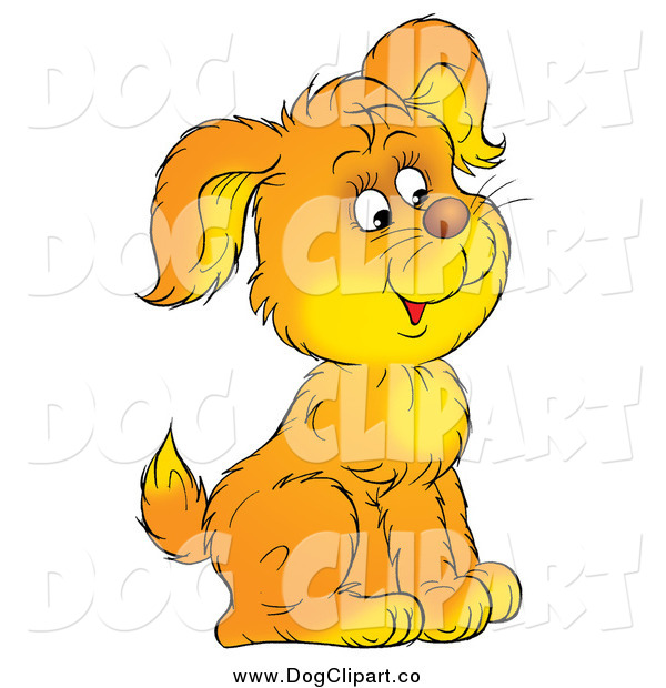 Clip Art of a Cute Puppy Sitting and Facing to the Right
