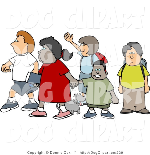 Clip Art of a Diverse Group of School Children and a Little Dog Crossing a Street