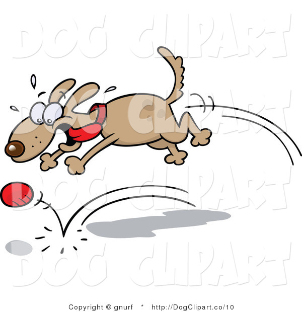 Clip Art of a Dog Chasing a Red Ball and Playing Fetch