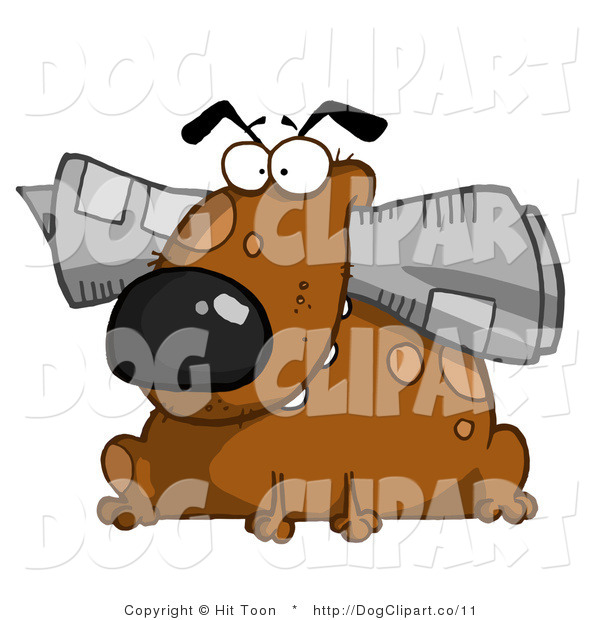 Clip Art of a Dog Waiting with the News
