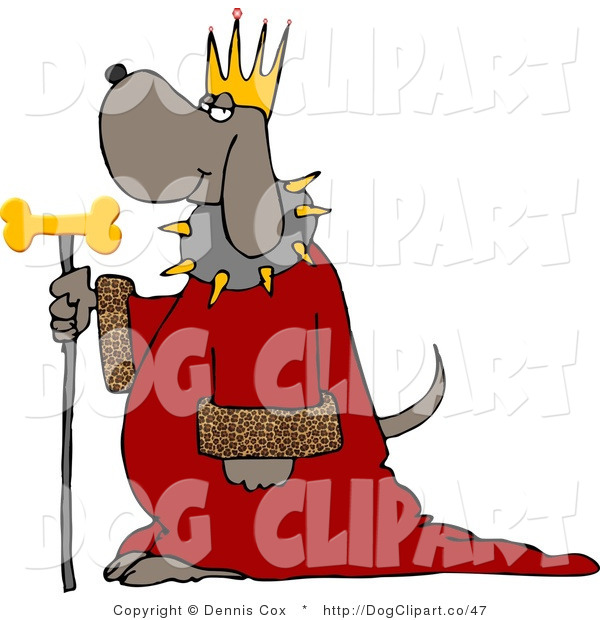 Clip Art of a Dog Wearing King Crown and Cloak