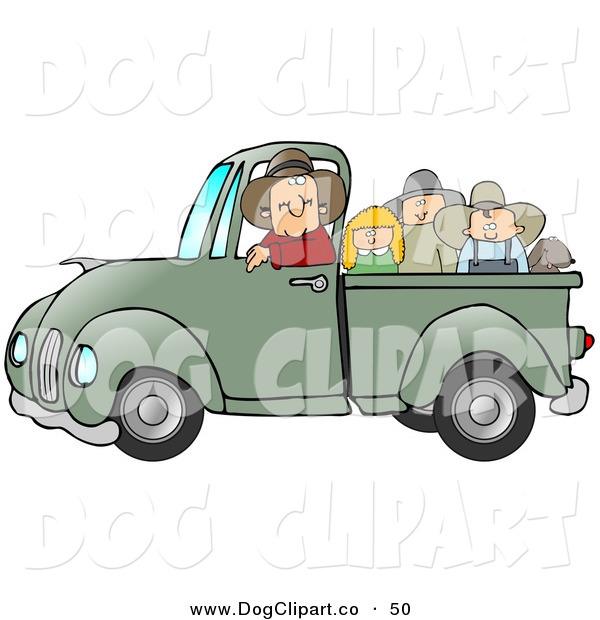 Clip Art of a Friendly Caucasian Farmer Man Driving with the Pickup Bed Full of Children