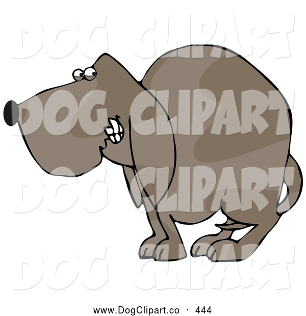 Clip Art of a Frightened Brown Dog Quivering and Cowering with His Tail Tucked Between His Legs