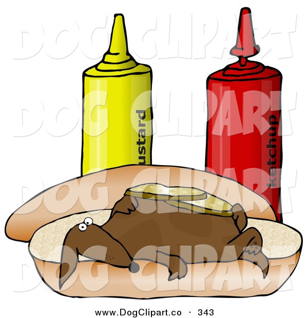 Clip Art of a Funny Clueless Wiener Dog Topped with Pickle Slices, Lying on His Back on a Hot Dog Bun Beside Ketchup and Mustard Bottles