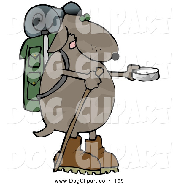 Clip Art of a Goofy Dog Using a Compass While Hiking