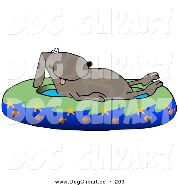 Clip Art of a Goofy Hot Dog Soaking in a Kiddie Pool Decorated with Starfish and Goldfish