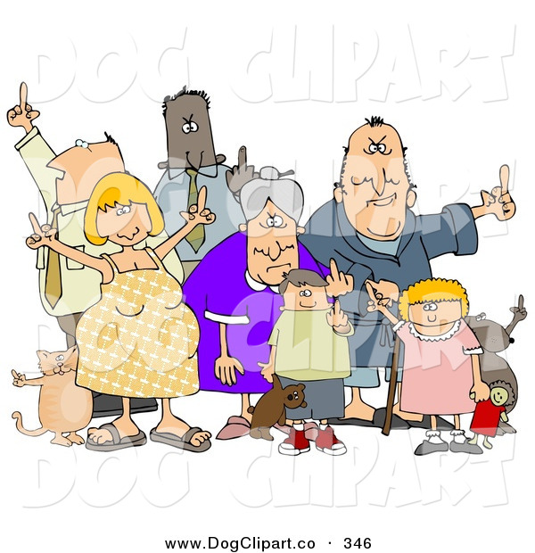 Clip Art of a Group of Angry People of All Ages and Mixed Ethnicities, Standing with a Dog and a Cat and Flipping People Off, on a White Background