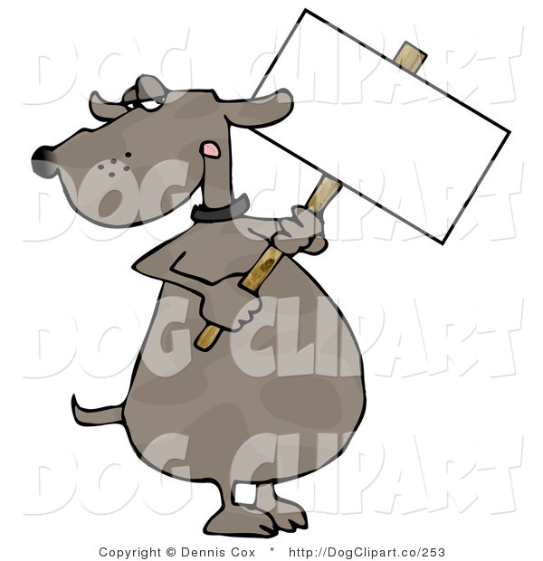 Clip Art of a Grumpy Dog Holding a Sign